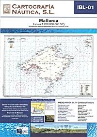 Carta Nautica IBL-01. Mallorca - Basada en la carta náutica del Intituto Hidrográfico de la Marina no. 48E.   Escala: 1:200.000 (39º 30´).   Proyección de Mercator