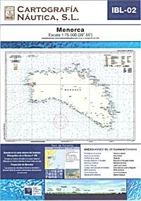 Carta Nautica IBL-02. Menorca - Basada en la carta náutica del Intituto Hidrográfico de la Marina no. 436.   Escala: 1:75.000 (39º 55´).   Proyección de Mercator