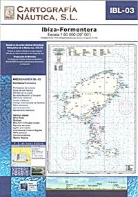 Carta Nautica IBL-03. Ibiza - Formentera - Basada en la cartas náuticas del Intituto Hidrográfico de la Marina no. 478 y 479.   Escala: 1:90.000 (39º 00´).   Proyección de Mercator
