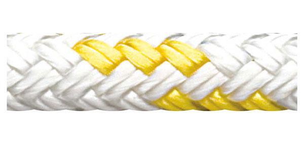 Cabo Escota Regatta Star Cup Blanco-Amarillo 7mm - Alma de Polyester HT y protección UV.  Antideslizante, resistente a la abrasión, fácil de engazar y termo fijado.   Precio por metro.   Cantidad mínima 5 mts.