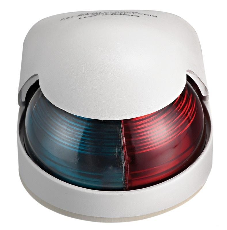 Luz de cubierta Bicolor rojo / verde Osculati, 225 ° Carcasa Blanca - Luces de navegación 12 Voltios, para embarcaciones de eslora inferior a 12 m.   Alcance 2 millas..   Potencia : 8 W.