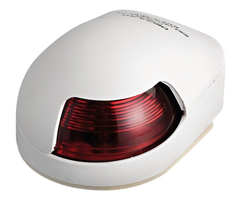 Luz de cubierta Babor Osculati, 112.5 ° Roja, Carcasa Blanca - Luces de navegación 12 Voltios, para embarcaciones de eslora inferior a 12 m.   Alcance 2 millas..   Potencia : 8 W.