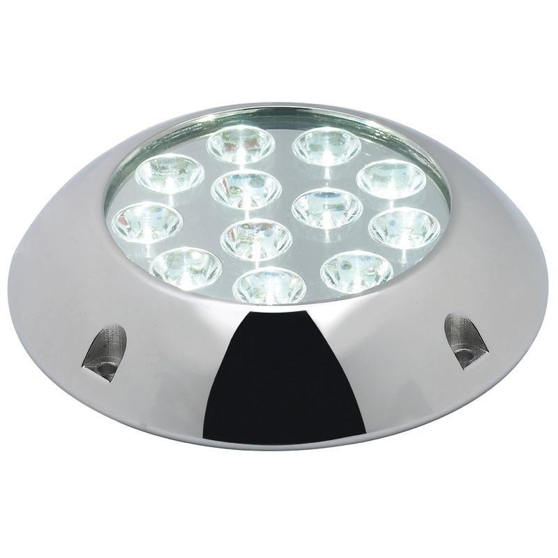 Foco de Luz Subacuática para Casco, Pasarela, Popa superior - Hecho de acero inoxidable AISI 316 pulido espejo, está equipado con 6 o 12 luces LED de alta potencia y sistema parabólico para aumentar la intensidad de la luz. Producto de alta calidad para uso subacuático únicamente.