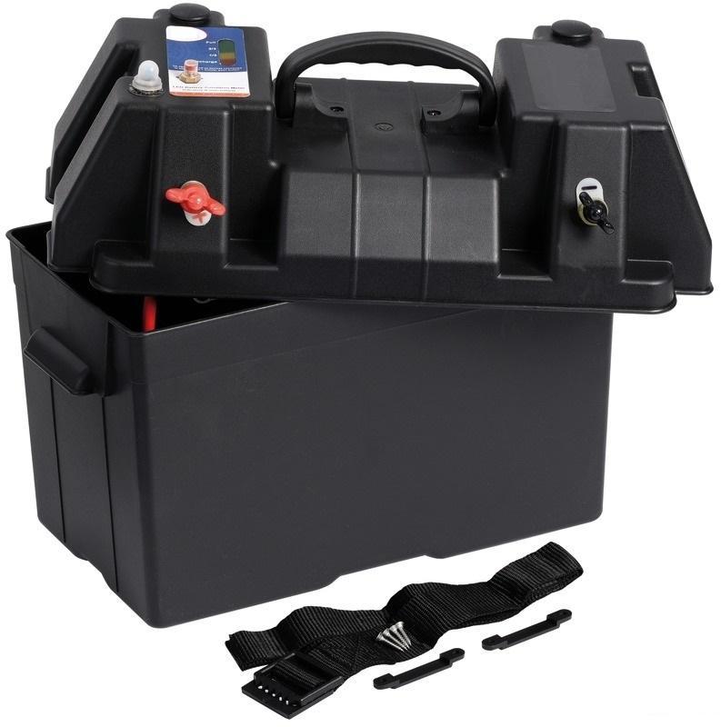 Caja de batería Power Center - Equipado con abrazaderas externas + enchufe hidrofugo con fusible automatico impermeable de 10 A + indicador LED de carga de la batería.
