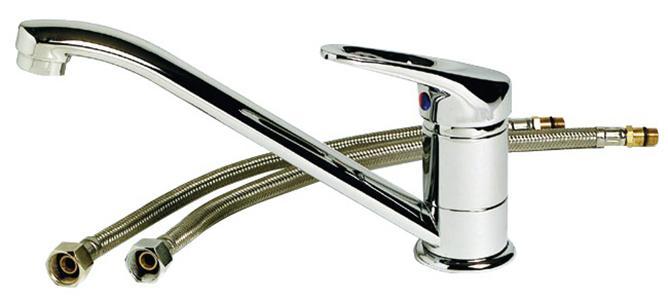 Grifo Mezclador monomando Olivia con válvula cerámica largo - Mezclador de control único Olivia con válvula de cerámica largo y caño giratorio. Adecuado para fregaderos de cocina.