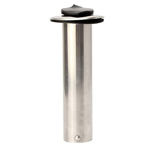 Portacañas Empotrable Inox Recto 40 mm, con Tapon - Portacañas empotrable recto con goma de proteccion.   Fabricado en acero inoxidable.   Diámetro exterior: 51 mm.   Alto: 229 mm.