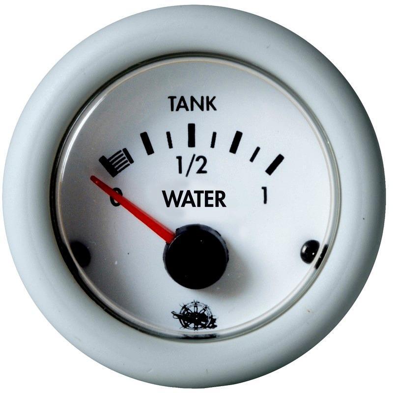 Indicador de nivel Agua Guardian blanco 10-180 Ohm 12 V - medidor de nivel de agua. Para depósitos de agua.   Frecuencia: 10-180 ohm.   Voltaje: 12 V .   Diámetro: 59 mm.