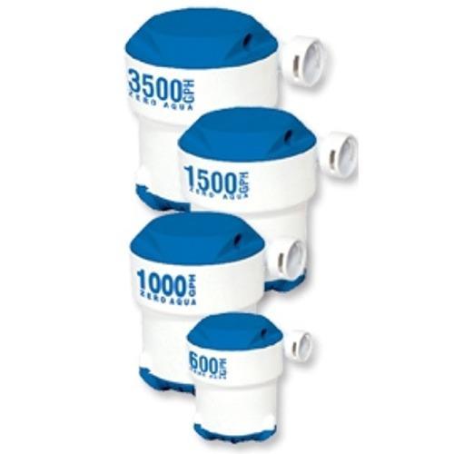 """Bombas de Sentina de alto rendimiento """"Zero Aqua Plus"""" de 600 a 3500 GPH - Las bombas de sentina """"Zero Aqua Plus"""" son de construcción robusta en plástico ABS. Fáciles de montar y limpiar al poderse acceder al impulsor y filtro con facilidad. Están disponibles en cuatro tamaños de 600 a 3500 GPH. Los modelos superiores a 1000 GPH tienen válvulas antiretorno."""