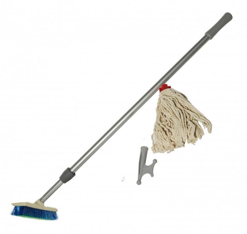 Kit de Limpieza para Barco - Incluye mango telescopico de 1,2 a 2,1 mts., cepillo fuerte para la cubierta, cabezal tipo bichero y fregona de algodón