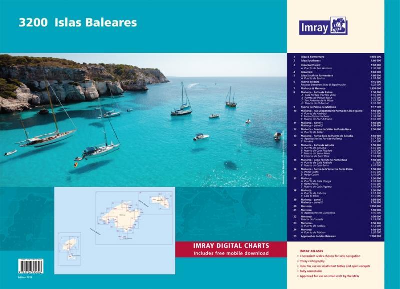 Colección de Cartas Islas Baleares - Imray 3200 - Cartas náuticas de las Isla Baleares. Pack de 25 Cartas. Proporciona toda la información necesaria para la planificación y navegación en las Islas Baleares. Incluye descarga gratuita de las cartas digitales del Mediterráneo Occidental. Edición Octubre 2018