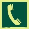 Señal Teléfono Emergencia - Medidas 150mm x150mm Vinilo autoadhesivo Fotoluminiscente