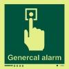 Señal Alarma c/texto inglés - Medidas 150mm x150mm Vinilo autoadhesivo Fotoluminiscente