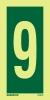 Señal Numero 9 - Medidas 150mm x75mm Vinilo autoadhesivo Fotoluminiscente