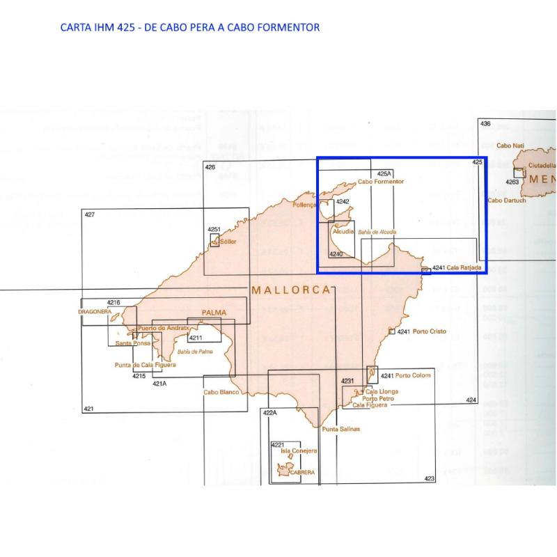 Carta del IHM 425 De Cabo Pera al Cabo Formentor