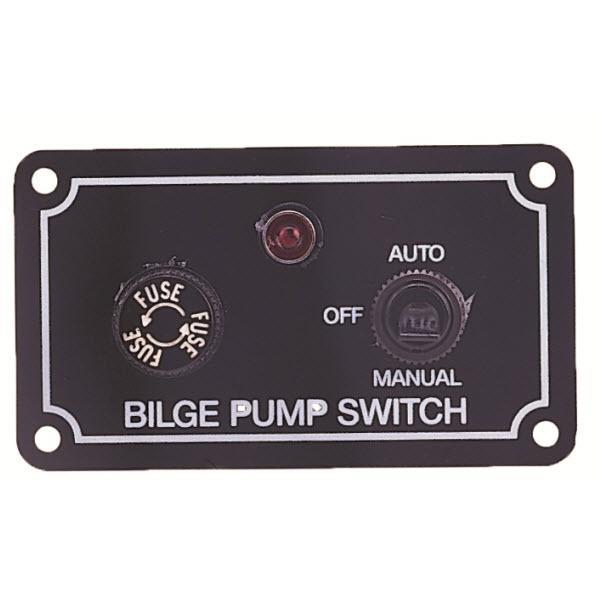 Interruptor de panel Manual-Automatico para bombas de achique eléctricas - Fabricado en aluminio anodizado, provisto de: - Interruptor , de 3 posiciones. - Luz de advertencia  - Fusible de seguridad.