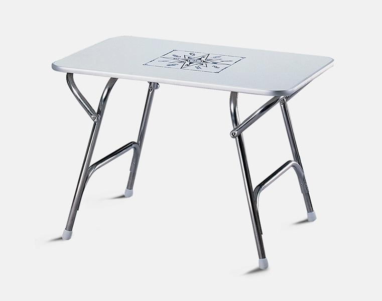 Mesa Plegable de a Bordo 88 x 44 x 60 mm - Mesa de abordo rectangular plegable. Estructura de aluminio.   Tablero de melamina.   Altura: 60 cm..   Tablero: .   88 x 44 cm