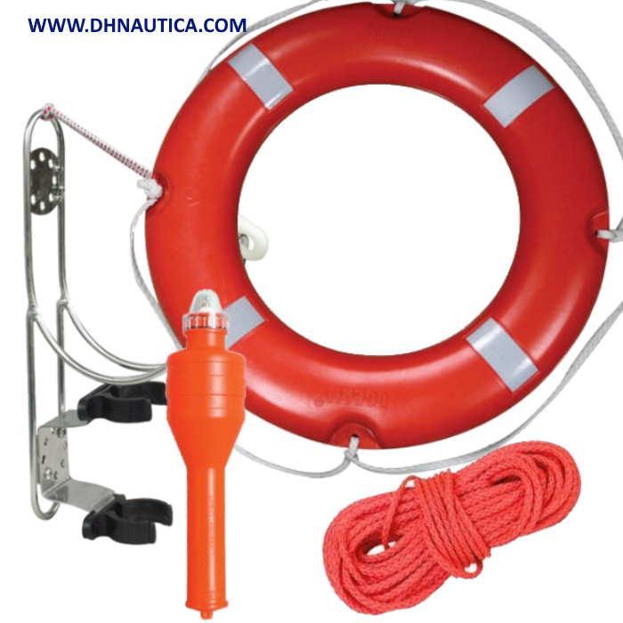 Aro Salvavidas SOLAS, Pack completo - Kit de salvamento que incluye Aro Salvavidas SOLAS 2,5 kg, Luz Flotante, 30 metros de Rabiza y Soporte para Aro y Luz