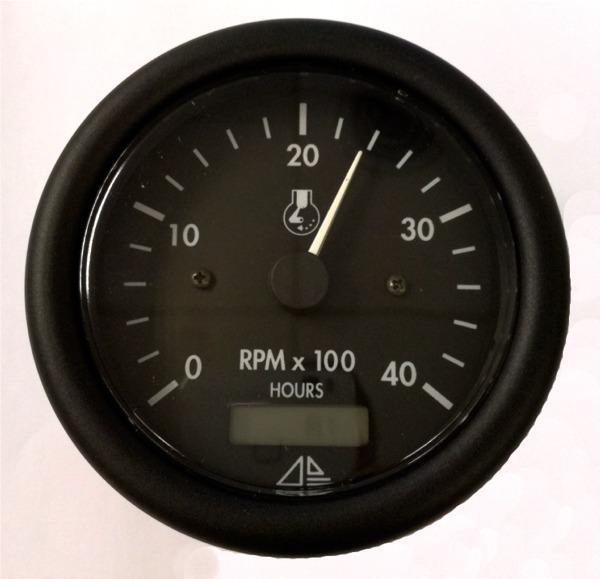Cuentarevoluciones con Cuentahoras - Tacometro náutico con cuentahoras para motores gasolina y diésel. Escala de 0-4000 RPM.