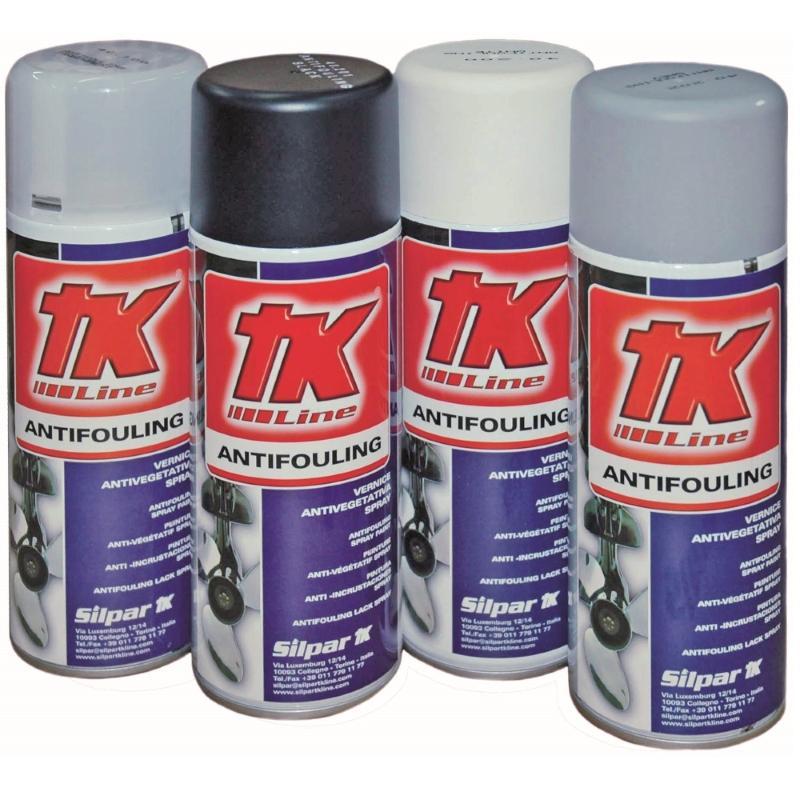Antifouling Helices y Colas Silpar TK Line - Barniz antiincrustante para la protección de los pies de popa, de las hélices y colas en un cómodo envase spray..   Capacidad: 400 ml