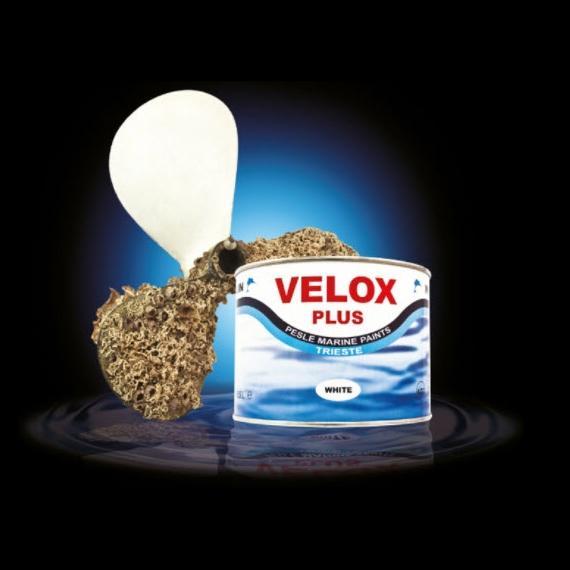 Pintura Antivegetativa VELOX PLUS  - Adecuada para Hélices, Colas, Ejes y todas las partes metálicas sumergidas. Disponible en Blanco, Negro, Gris y Naranja.