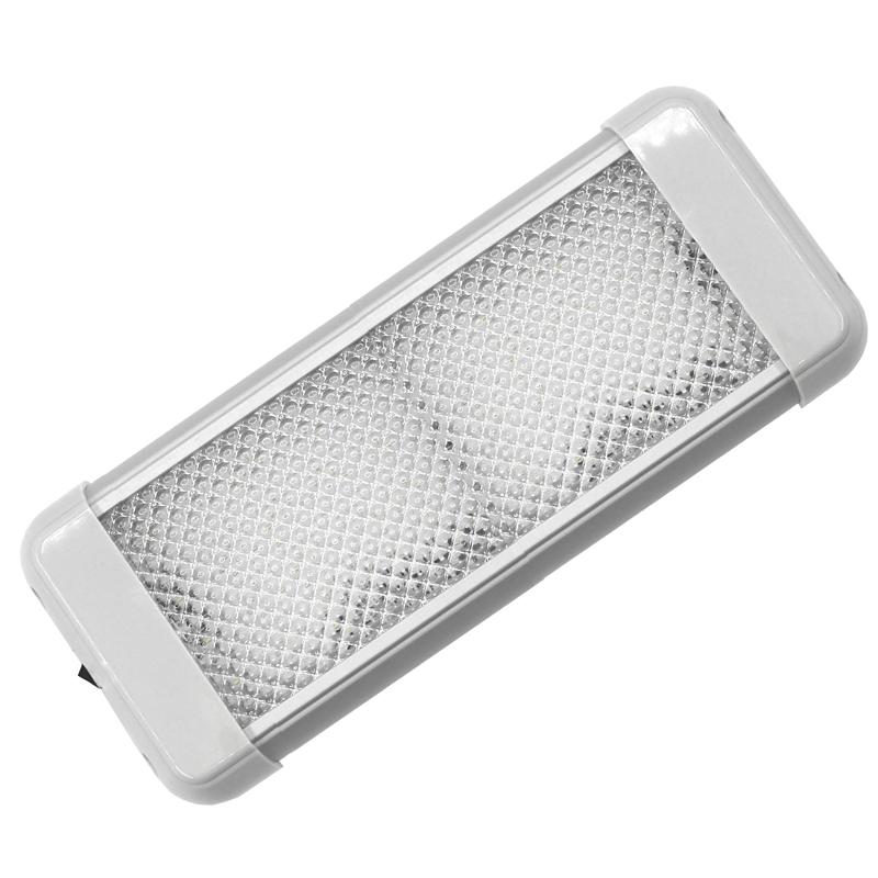 AquaLED Plafon Rectangular con Interruptor, 12 / 24V, IP20 - Luz LED de techo, en caja rectangular de aluminio, con interruptor, 9.6W, 12 / 24V, IP20