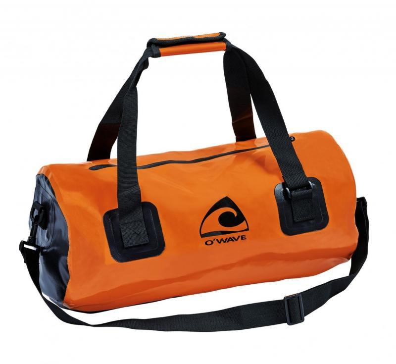 Bolsa de lona estanca Duffel bag O'Wave 25L - Duffel bag bicolor naranja y negro en Lona 500D, tejido de poliéster 500 g / m² con doble recubrimiento de PVC. Capacidad 25 Litros.