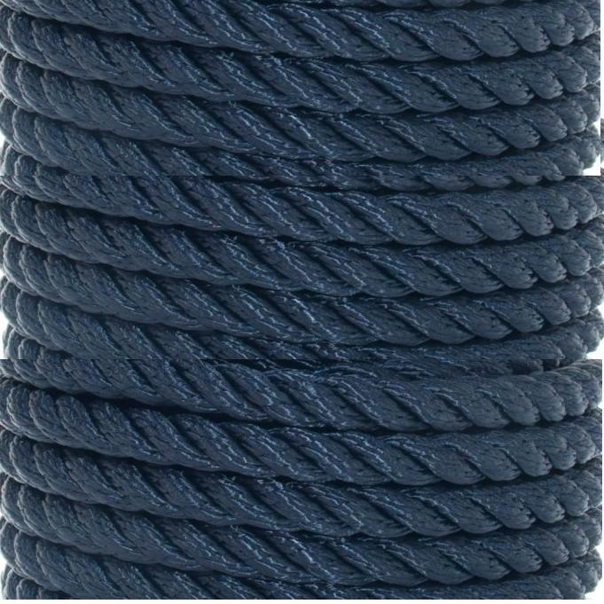 Cabo de amarre y fondeo poliester Azul de 3 cordones