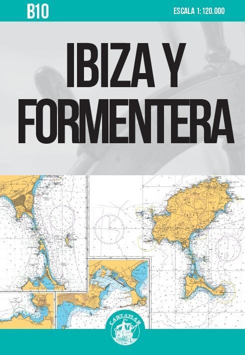 Carta Nautica Ibiza y Formentera B10 - Carta náutica plegada, de escala 1:120.000. Contiene además los siguientes cartuchos: Freus entre Ibiza y Formentera. Escala 1:50.000 / Sant Antoni de Portmany. Escala 1:20.000 / Puerto de Ibiza. Escala 1:10.000