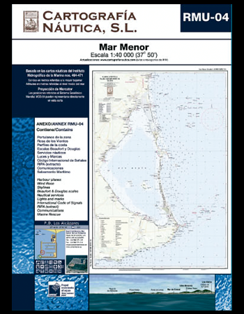 Carta Nautica RMU-04. Mar Menor - Basada en la carta náutica del Intituto Hidrográfico de la Marina no. 464 y 471.   Escala: 1:40.000 (37º 50´).   Proyección de Mercator