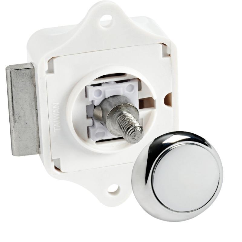Cerradura tipo Pulsador Plástico ABS Cromado