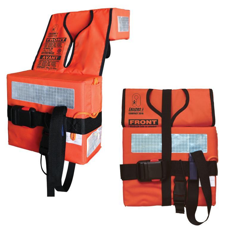 Chaleco salvavidas plegable y compacto Código SOLAS LSA 2016 - Fabricados para buques donde la zona de estiba de los chalecos es limitado.  Cumple totalmente las nuevas normas OMI