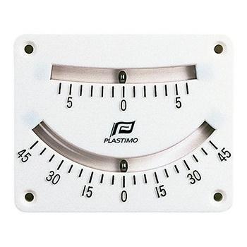Clinómetro de doble lectura Plastimo - Graduaciones de 0 º a 5 º y cada 5 º hasta 45 º.   Fijación 4 tornillos.   Dimensiones: 110 x 82 mm..   Ubicación interior o exterior