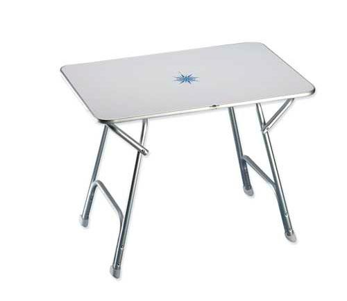Mesa Plegable Rectangular Plus 110 x 60 x 70 cm - Mesa de abordo rectangular plegable.   Con tablero de plástico blanco decorada y estructura de aluminio anodizado. Altura: 70 cm. Tablero: 60 x 110 cm.