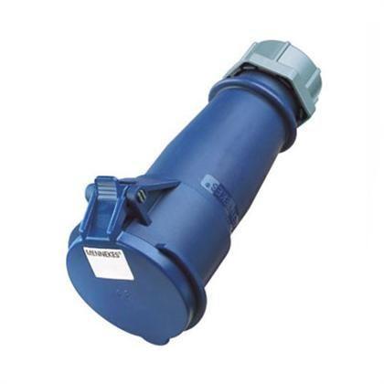 Enchufe hembra, 32A 2P+T 250V 6H IP44 serie azul