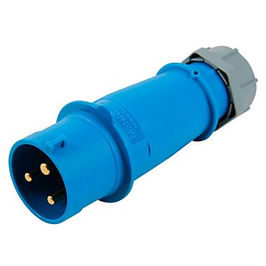 Enchufe macho, 32A 2P+T 250V 6H IP44 serie azul