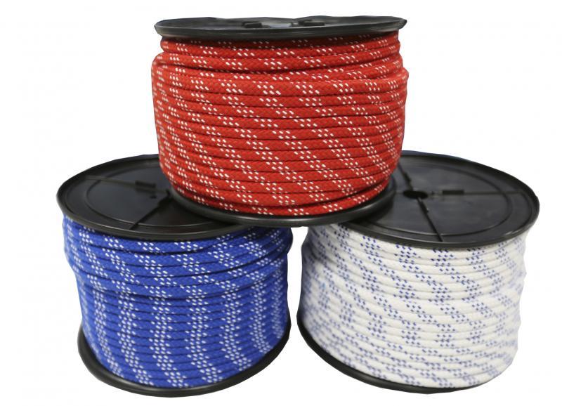 Escota nautica alta tenacidad - Escota náutica de alta tenacidad. Diámetro: 6, 8, 10 o 12 mm. Color: Blanco, Azul o Rojo. Precio por metro.  Cantidad mínima 5 mts.