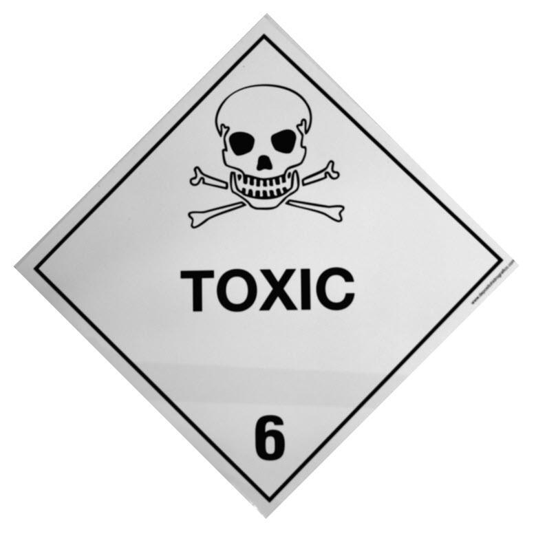 Etiqueta de Señalización IMDG Clase 6.1: Toxic - Etiqueta de señalización para mercancias peligrosas..   Material vinilo Autoadhesivas de 300x300 mm para contenedores
