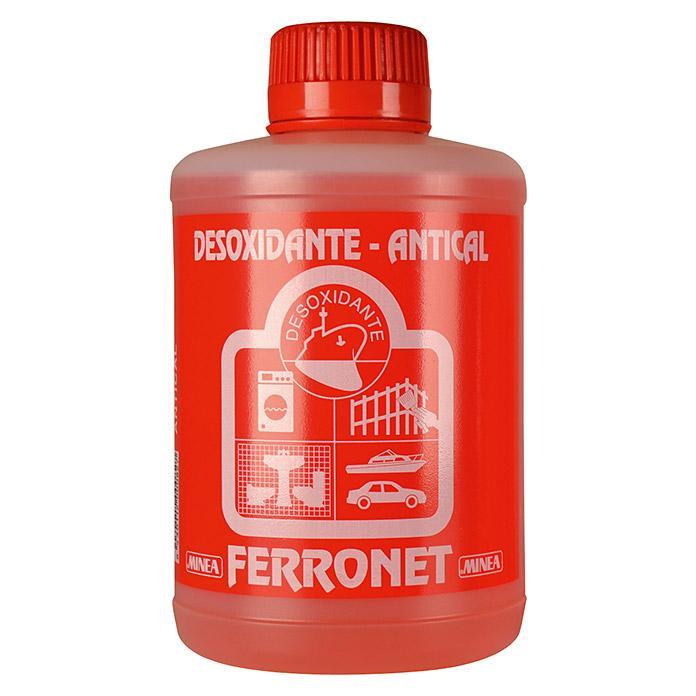 Desoxidante AntiCal  Minea Ferronet 1 Kgr. - Botella 1 Kg .Desincrustante líquido de carácter ácido, de elevado poder desoxidante, desengrasante y descalcificante.