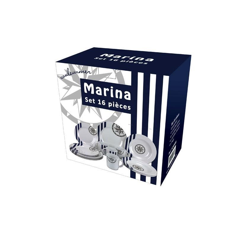 Juego de vajilla Topoplastic Marina, 16 Piezas - Vajilla de melamina de alta calidad, muy resistente aguanta el uso del lavavajillas, pero no el del microondas.   Conjunto de 16 piezas
