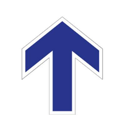 Adhesivo Suelo Circular - Flecha Azul  y Blanca Sentido de la Marcha