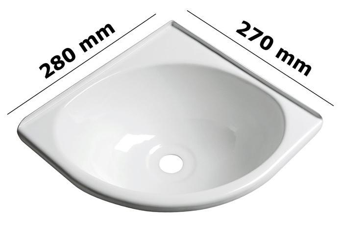 Lavabo angular ABS blanco - Lavabo de ABS blanco termoformado. Tapón de drenaje no incluido