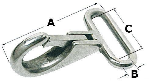 Gancho de seguridad de acero inoxidable con ojal plano para cinchas