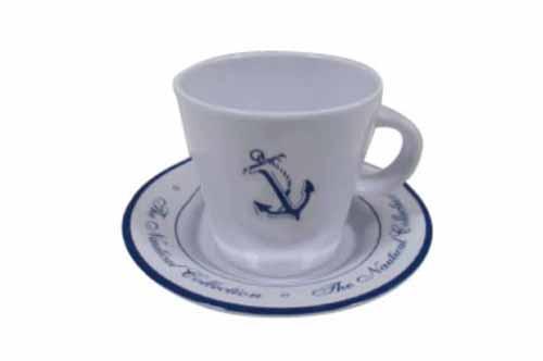 Juego de 6 Tazas y 6 platos de cafe - Vajilla Welcome on Board