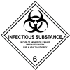 Etiqueta de Señalización IMDG Clase 6.2: Infectious Substance - Etiqueta de señalización para mercancias peligrosas. Material vinilo Autoadhesivas de 300x300 mm para contenedores