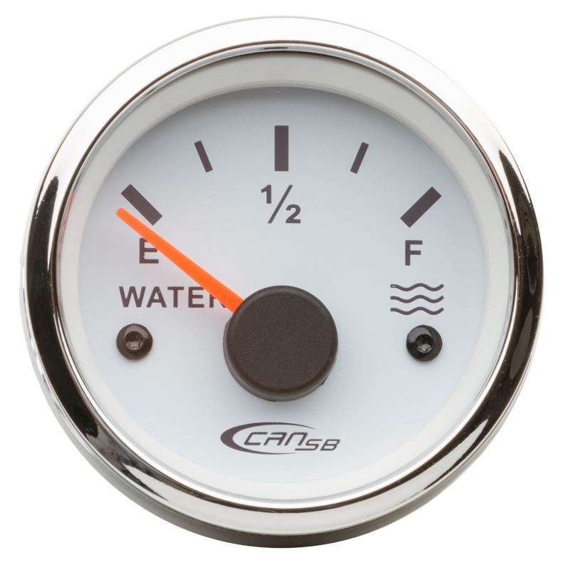 Indicador de nivel universal blanco 10-180 Ohm 12 V - indicador de nivel universal para depósitos de agua.    Frecuencia: 10-180 ohm.    Voltaje: 12 V .   Diámetro: 52 mm.