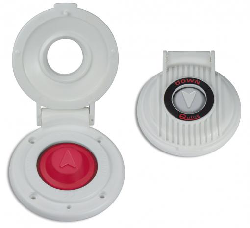 Interruptor de pie Blanco Quick, para Molinetes - Interruptor de pie Quick estanco, con tapa protectora, para molinetes. Equipado con proteccion para evitar la presion accidental del pulsador.  Fácil de instalar.