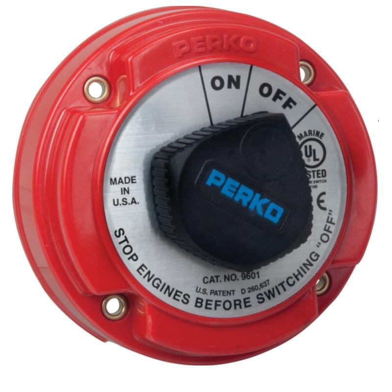 Interruptor-Desconectador Perko para Circuito principal - Capacidad: 250 amperios continuos, 360 amperios 5 minutos. Intermitente. Para usar con sistemas eléctricos marinos de 6 a 50 voltios