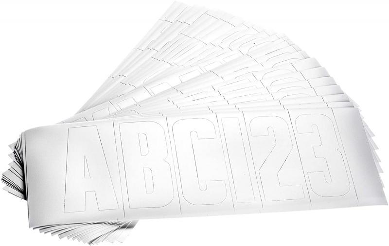 Juego de letras y numeros para matricula de embarcaciones, color blanco