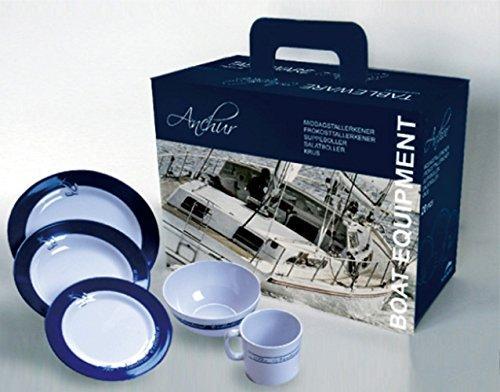 Juego de vajilla Welcome on Board, 20 Piezas - Juego de platos de cocina de melamina, 20 piezas, Colección náutica