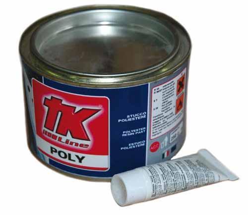 Kit Reparacion Biocomponente TK Line Poly 250gr  - Estuco poliéster blanco a dos componentes de alta resistencia y muy rápido para la reparación rápida de fibra de vidrio, madera, metal, plástico, mármol y cemento.